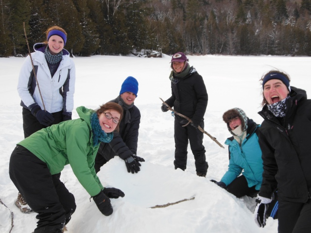 ERE Club members build boat from snow.