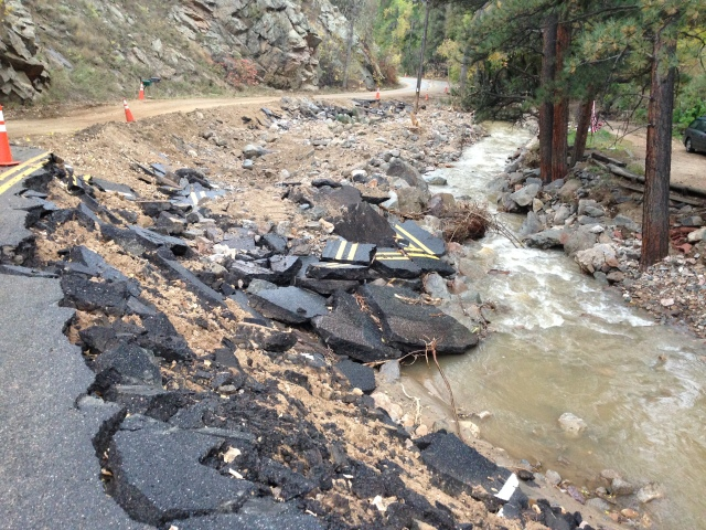 Four Mile Creek damage from 2013 CO floods, tributary to Boulder Creek. Research at CSU will address engineering designs for such floods.