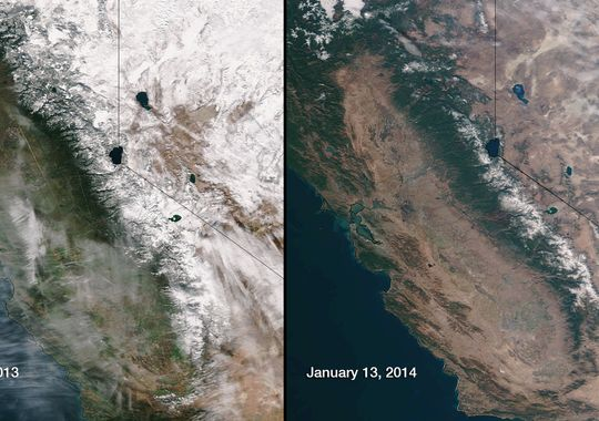 Comparison of Sierra Nevada snowpack from 2013 to current, source USA Today