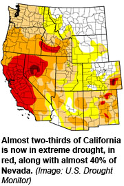 Drought map of Western US (January 17th, source USA Today)