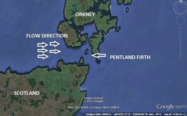 Aerial Satellite photo showing the Pentland Firth as well as flow direction.