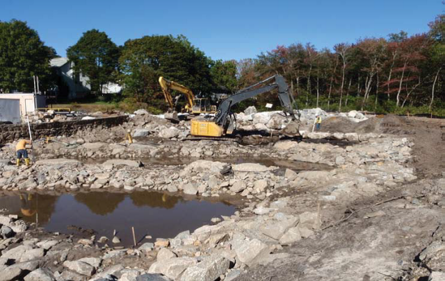 October 2013 construction of the Kenyon Mill stone fishway weir and weir notch