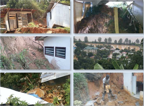 Damage as a result of flooding, landslides, and rockslides after Tropical Cyclone Felleng, 2013