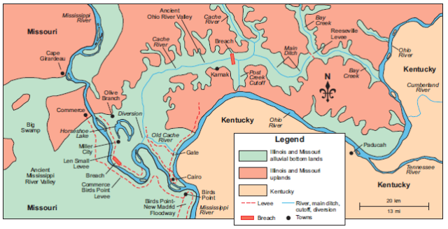 Map of Cache River Valley in southern Illinois, including Bay Creek, Post Creek Cutoff, and breached Karnak levee.