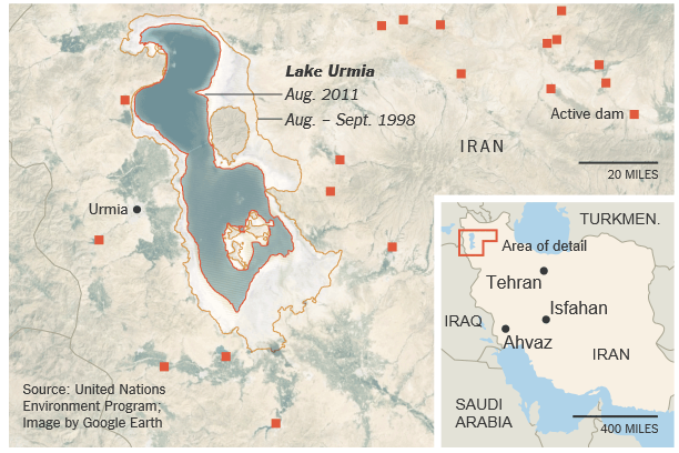 Lake Urmia's shoreline in 1998 and 2011