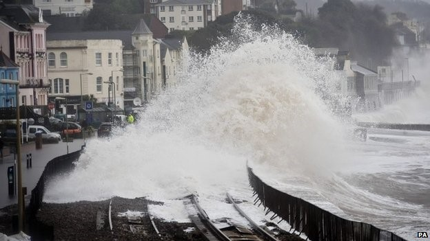 Waves crashing into seafront in Dawlish, England.