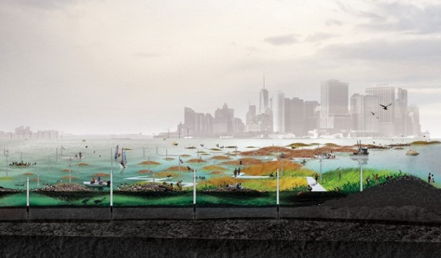 A proposed solution of oyster reefs as an integral part of New York City's storm surge protection system.
