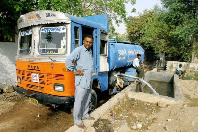 Figure 1:  Pumping Trunk delivering water taken from an aquifer in India