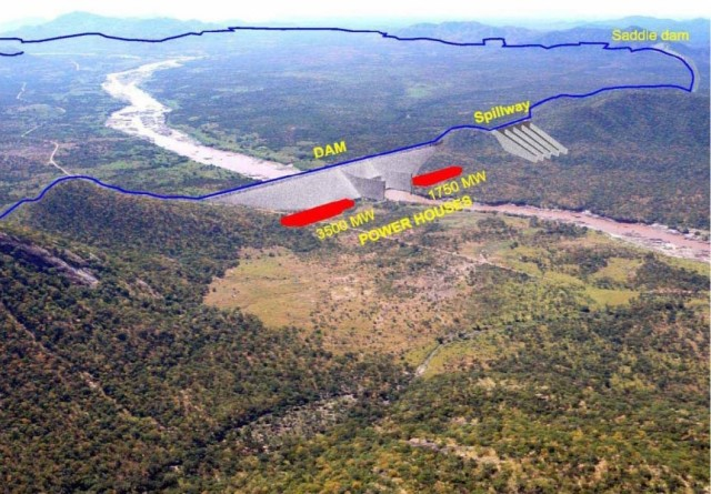 Figure 2: Rendering of the proposed dam and reservoir