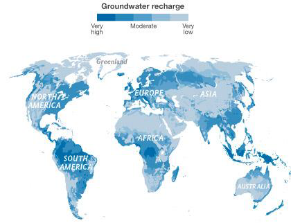 Aquifer recharge rates for the planet