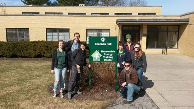 Figure 1 - The ERE team at the Renewable Energy Training Center at SUNY Morrisville (Kiana Morse, Ethan Bodnaruk, Xiaoyu Chen, Jeremy Driscoll, Kristine Ellsworth, Ashlyn Maurer, Thomas Decker…not pictured Ross Mazur, Alex Caven, Ani Zipkin).