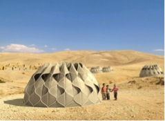 Figure 2 shows the exterior of the woven shelter design (Green Prophet).