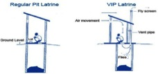 Figure 1- Schematic showing a regular pit latrine versus a VIP latrine (courtesy of loofactory.blogspot.com)