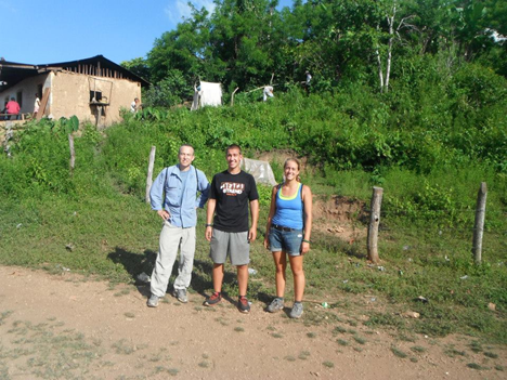 ESF travelers, (left to right): Professor Ted Endreny, Tom J. Decker and Taylor Brown in the village of Buena Vista, Hamlet of Los Vegas, in front of the home of a Buena Vista Junta de Agua officer.