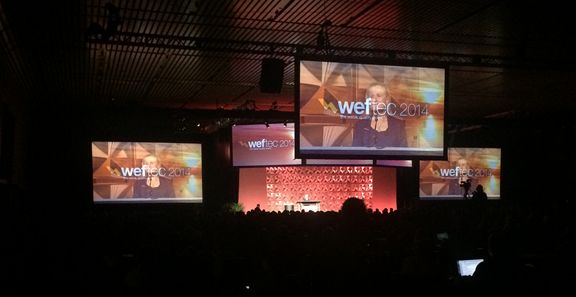 WEFTEC opening plenary session featured leaving WEF president speaking on our world's future in water use and treatment.