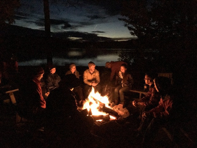 Gathering of the first wave of students along Rich Lake bonfire.