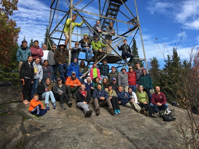 Students, Faculty, and family members at Goodnow Mtn Fire Tower.