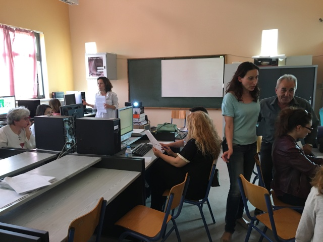 Anna and Vasiliki coordinating the computer lessons with SimRiver during the Galatas workshop. The i-Tree Canopy lessons then followed. The success of these computer activities was dependent on the incredible IT support provided by the IT personnel at the Galatas and Nikaia schools.