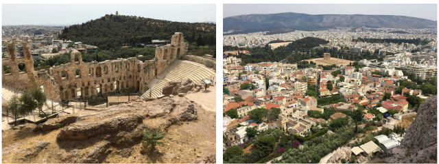A tour of Athens and Nikaia. On the left, the stone theater Odeon of Herodes Atticus on southwest slope of Acropolis (5000 seating capacity, originally built in 161 AD, renovated in 1950) overlooking Hill of the Muses (1 of 4 major hills) and the location of Socrates prison. On the right, Column remnants of the Temple of Olympian Zeus to the southeast, with the National Gardens to the north of the temple, and Panathenaic Stadium (built entirely of marble, hosted first modern Olympics in 1896) further east.
