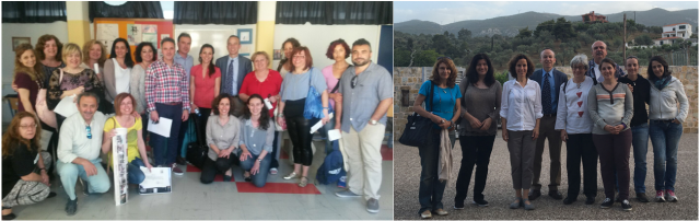 On the left, a photo of some of the teachers attending the Nikaia workshop. On the right, a photo of some of the teachers attending the Galatas workshop.