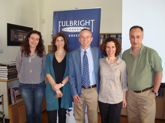 Vasiliki Kioupi, Artemis Zenetou, Nicholas Tourides, Anna Endreny, and Ted Endreny, at the Greek Fulbright Foundation offices.