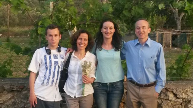 Our teacher training workshop team, Noah (for honest feedback from a student on the quality of our ideas), Anna, Vasiliki, and Ted, after delivering the Galatas workshop.