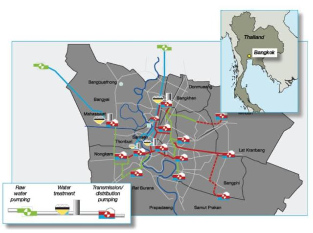Figure1. Water service area and treatment plants of Bangkok Thailand (Babel, 2010)